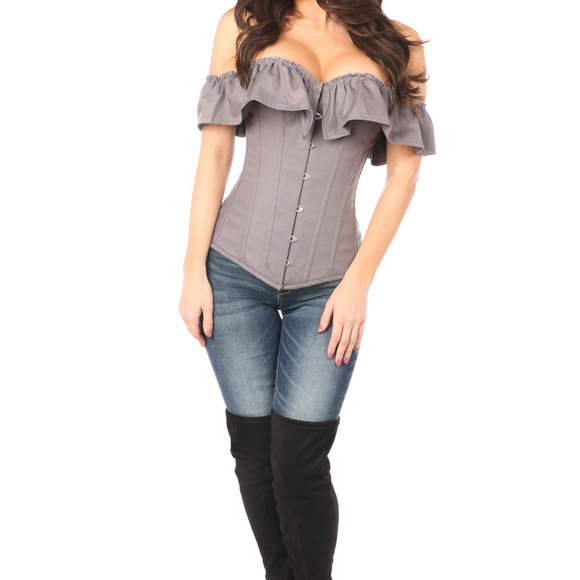 Daisy Corsets Tops - Daisy Corsets Grey Cotton Off-The-Shoulder Corset